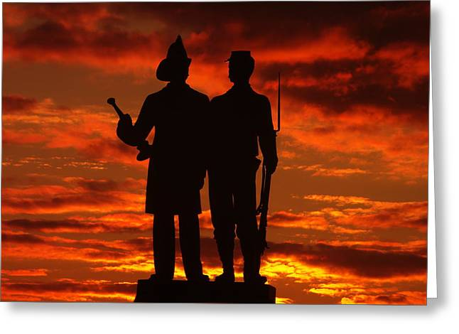 Sky Fire - 73rd Ny Infantry Fourth Excelsior Second Fire Zouaves-a1 Sunrise Autumn Gettysburg Greeting Card by Michael Mazaika