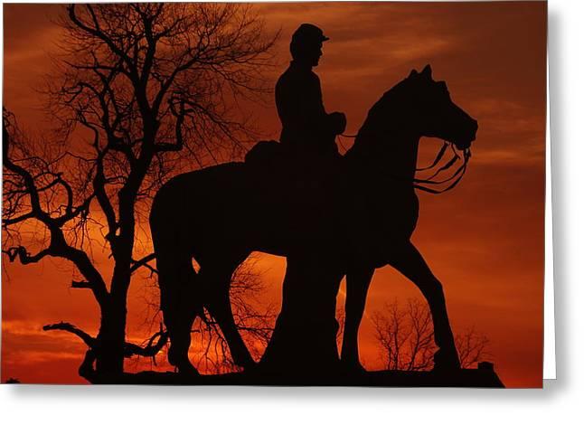 Sky Fire - 8th Pennsylvania Cavalry Regiment Pleasonton Avenue Sunset Autumn Gettysburg Greeting Card