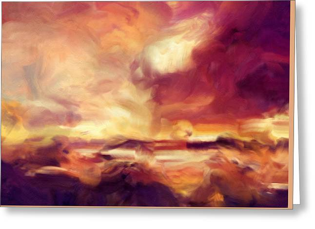 Sky Fire Abstract Realism Greeting Card by Georgiana Romanovna