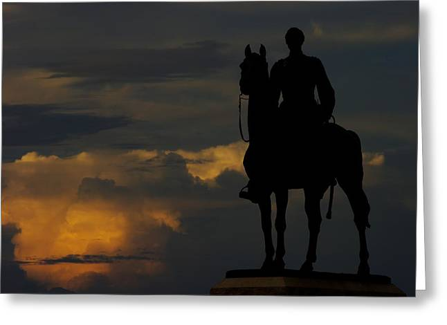 Sky Fire - Maj Gen George G Meade Commander Army Of Potomac Summer Evening Thunderstorms Gettysburg Greeting Card