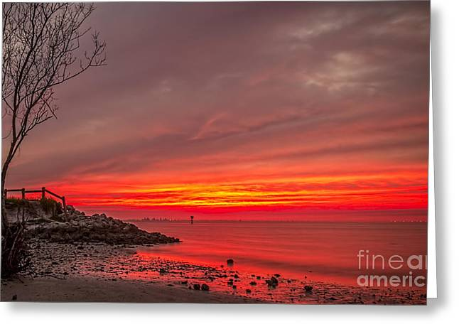 Sky Fire Greeting Card by Marvin Spates