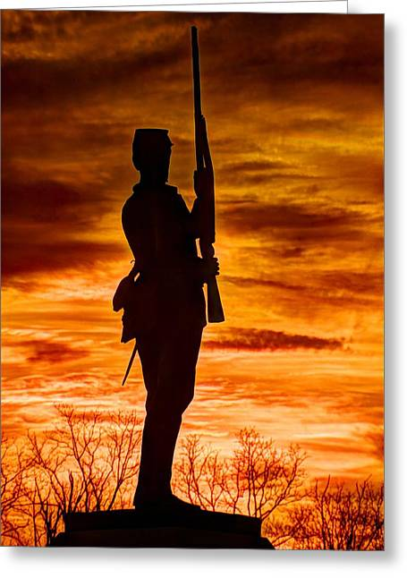 Sky Fire - The Flames Of War - 11th Pennsylvania Volunteer Infantry At Gettysburg - Sunset Close1 Greeting Card