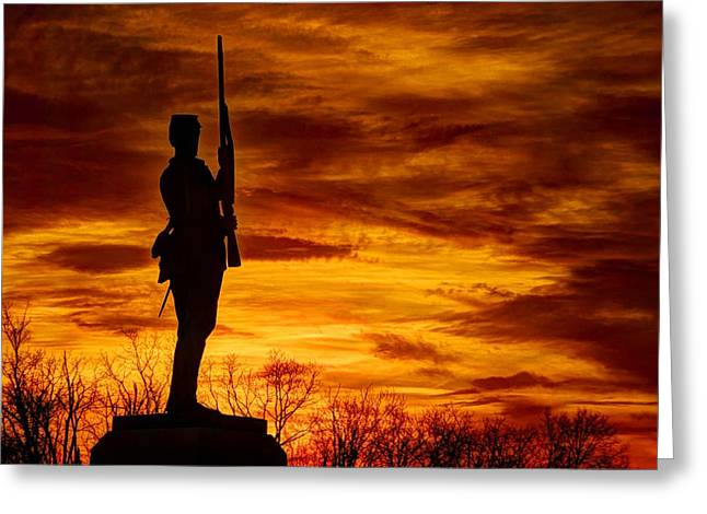 Sky Fire - The Flames Of War - 11th Pennsylvania Volunteer Infantry At Gettysburg - Sunset Close3 Greeting Card