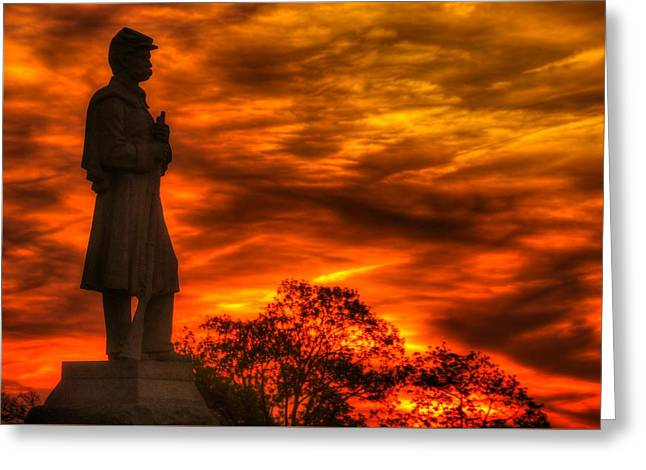 Sky Fire - West Virginia At Gettysburg - 7th Wv Volunteer Infantry Vigilance On East Cemetery Hill Greeting Card by Michael Mazaika