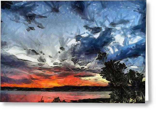 Greeting Card featuring the painting Sky by Georgi Dimitrov