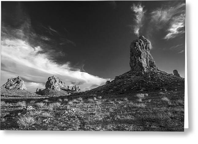 Sky Masters - Trona Pinnacles - Black And White Greeting Card by Peter Tellone