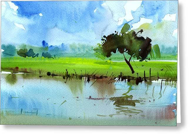 Sky N Farmland Greeting Card by Anil Nene