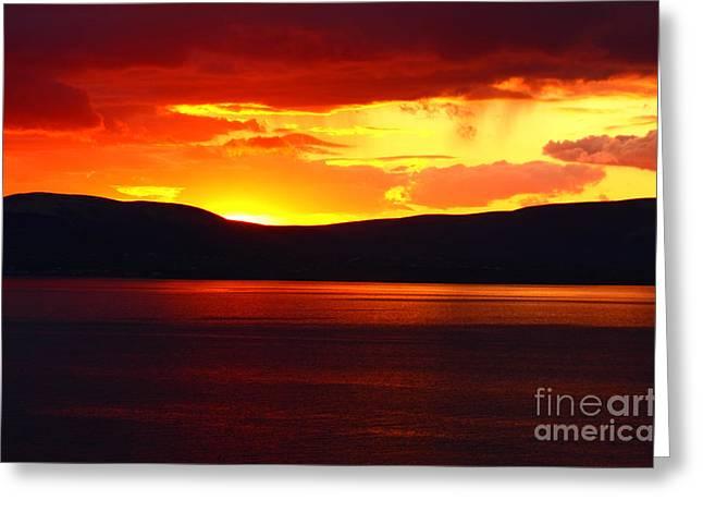 Sky Of Fire Greeting Card by Aidan Moran