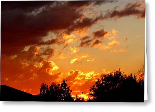 Sky On Fire. Greeting Card by Joyce Woodhouse