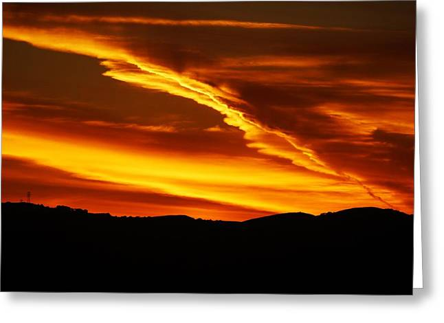 Sky On Fire Greeting Card by Michael Courtney