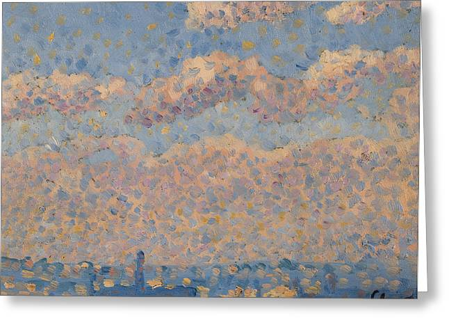 Sky Over The City Greeting Card by Louis Hayet
