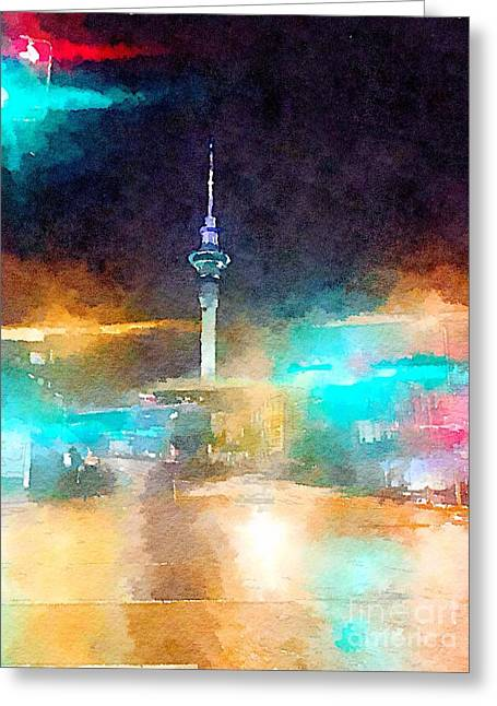 Sky Tower By Night Greeting Card