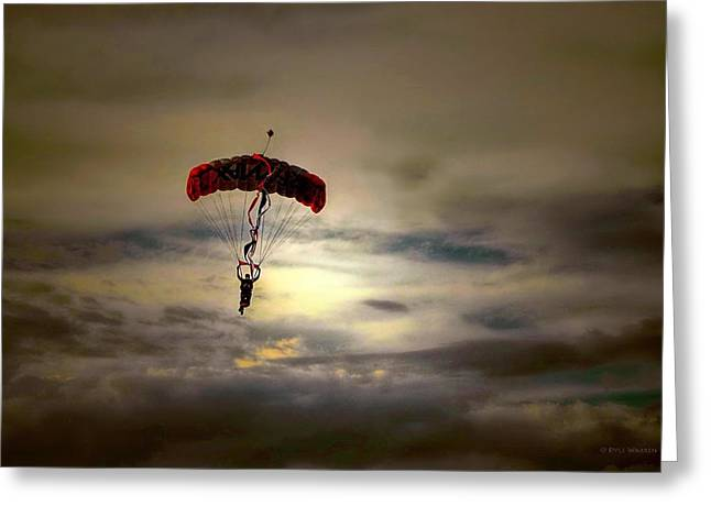 Evening Skydiver Greeting Card by Dyle   Warren
