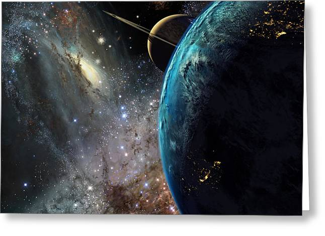 Galaxies Collide Over Terraformed Titan Greeting Card by Don Dixon