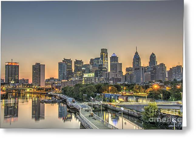 Skyline At Dawn Greeting Card by Mark Ayzenberg