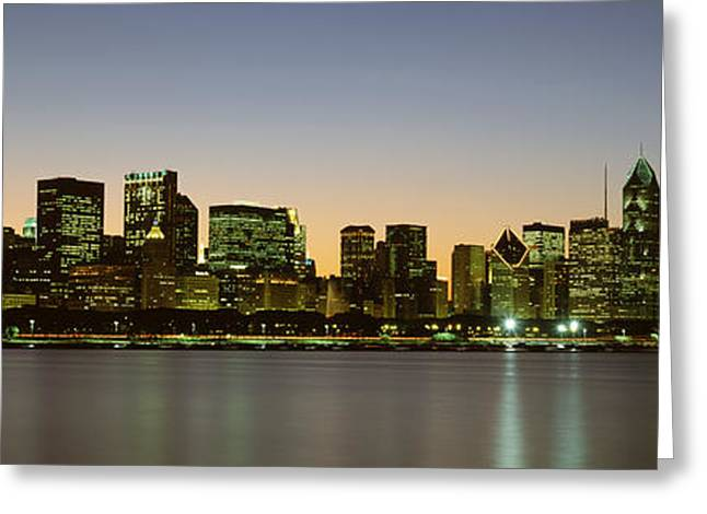 Skyline At Dusk Chicago Il Usa Greeting Card by Panoramic Images