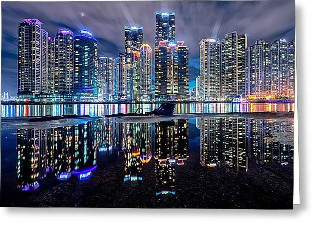 Skyline At Night Greeting Card