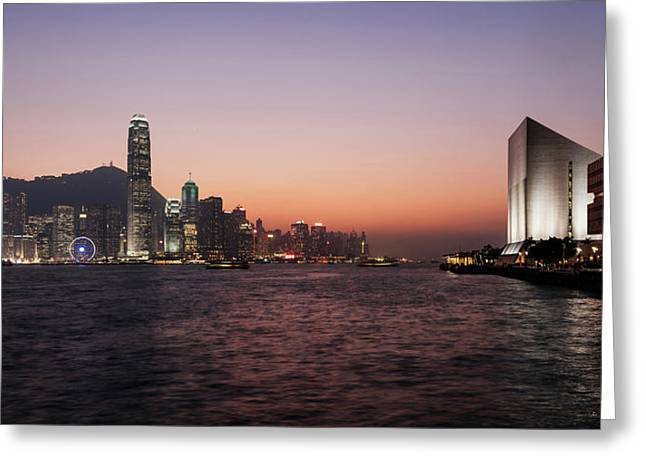 Skyline At Waterfront During Dusk Greeting Card