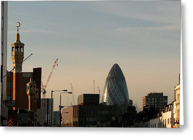 Greeting Card featuring the photograph Skyline At Whitechapel by Helene U Taylor