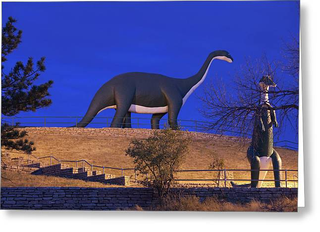 Skyline Drive Dinosaur Statues At Dawn Greeting Card by Panoramic Images