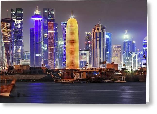 Skyline In Doha Greeting Card