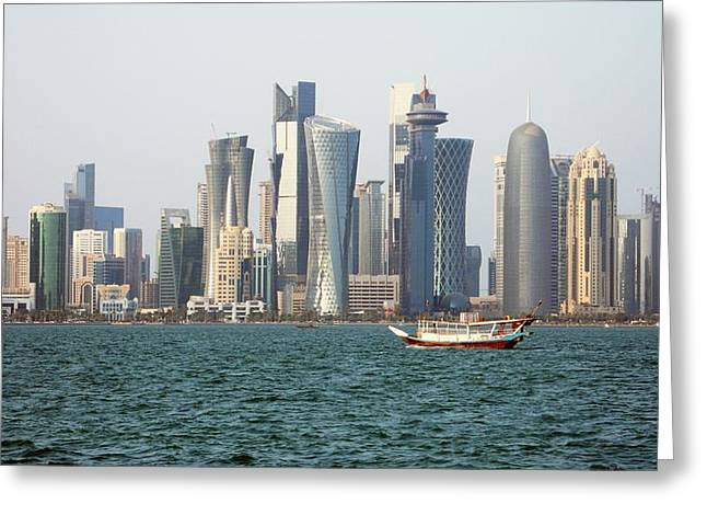 Skyline In Doha Greeting Card