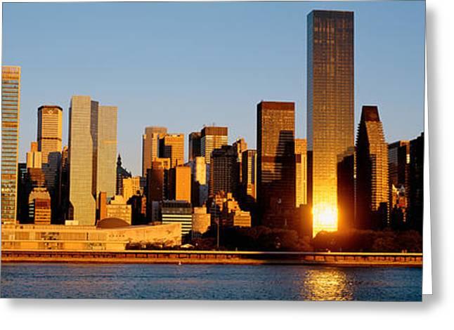 Skyline, Manhattan, New York State, Usa Greeting Card by Panoramic Images