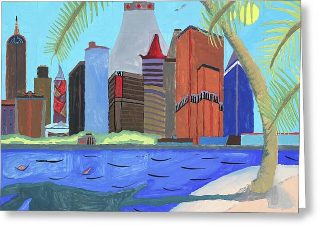 Greeting Card featuring the painting Skyline by Artists With Autism Inc