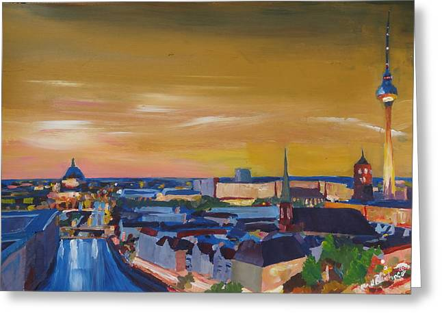 Skyline Of Berlin At Sunset Greeting Card by M Bleichner