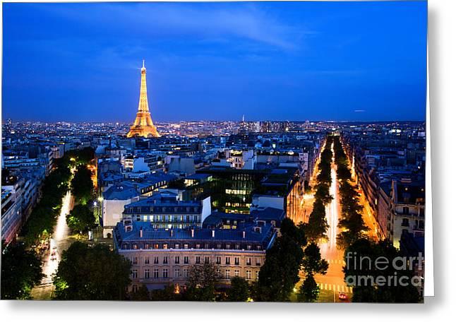 Skyline Of Paris Greeting Card by Michal Bednarek
