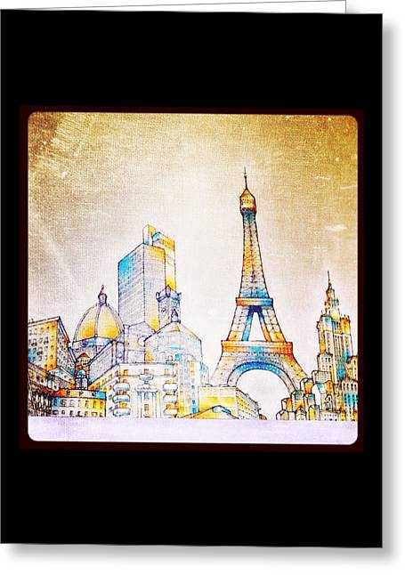 Skyline Of The World Greeting Card by Natasha Marco