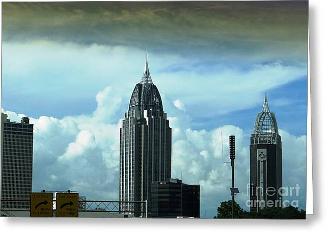 Skyline Over  Mobile Greeting Card