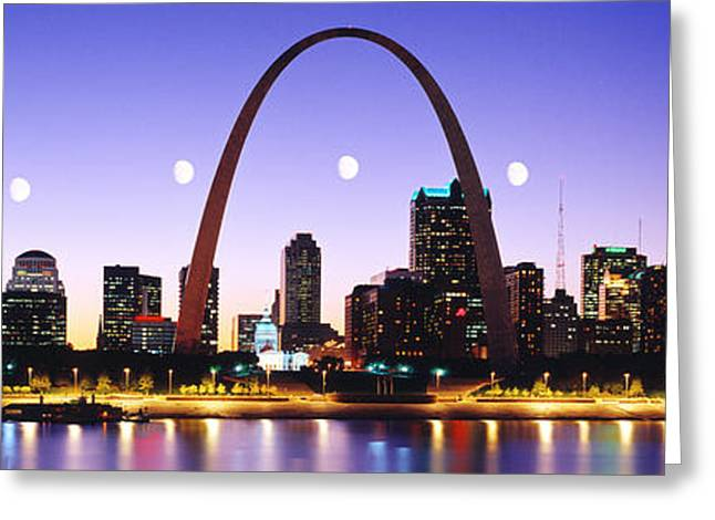 Skyline St Louis Missouri Usa Greeting Card by Panoramic Images