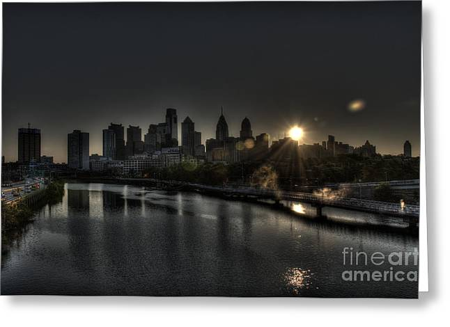 Skyline Sunrise Greeting Card by Mark Ayzenberg