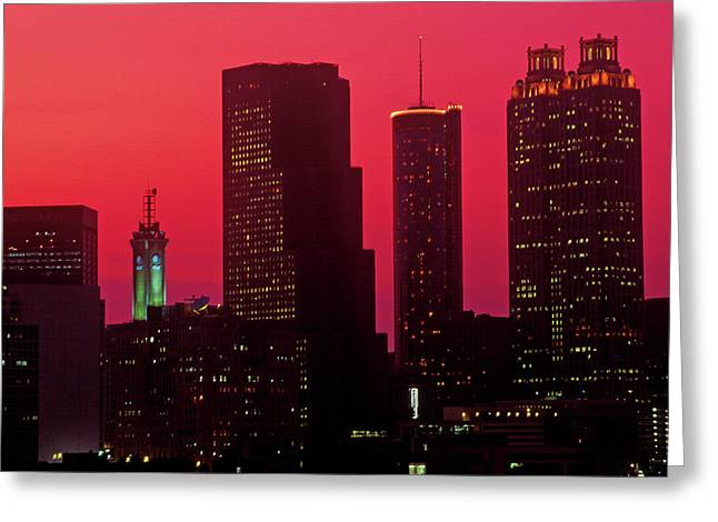 Skyline View At Sunset Of The State Greeting Card