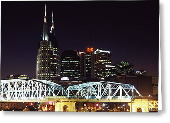 Skylines And Shelby Street Bridge Greeting Card by Panoramic Images