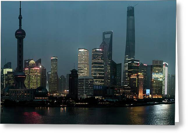 Skylines At The Waterfront At Night Greeting Card by Panoramic Images