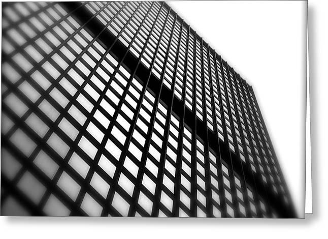 Skyscraper Facade Greeting Card by Valentino Visentini