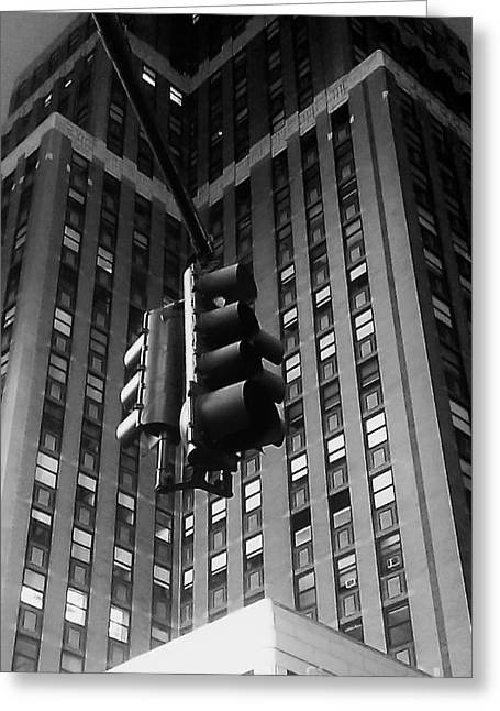 Skyscraper Framed Traffic Light Greeting Card