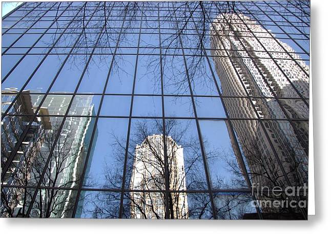 Skyscraper Reflections - Charlotte Nc Greeting Card by Shelia Kempf