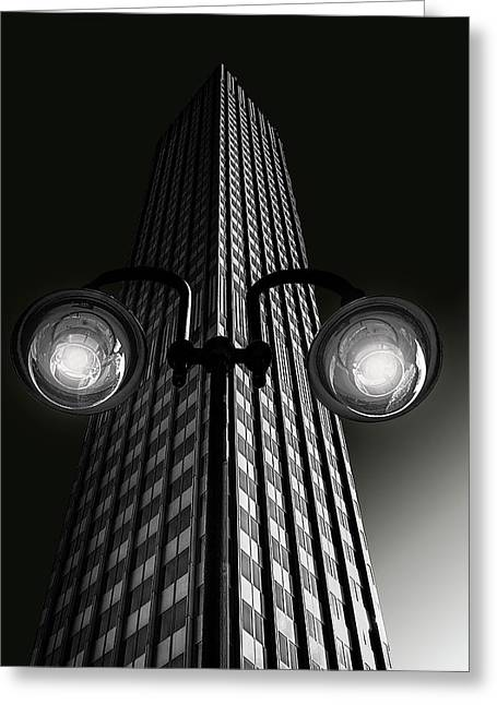 Skyscraper With Glasses Greeting Card