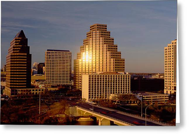 Skyscrapers In A City, Austin, Texas Greeting Card by Panoramic Images