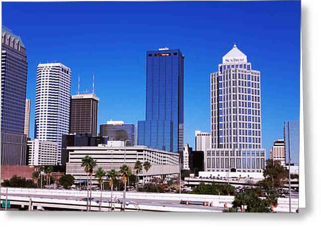 Skyscrapers In A City, Tampa, Florida Greeting Card by Panoramic Images