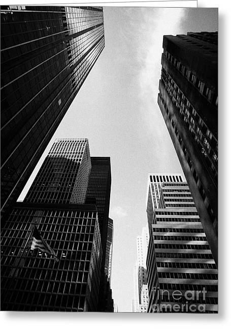 Skyscrapers With Stars And Stripes Flying Rockefeller Plaza Center New York City Greeting Card