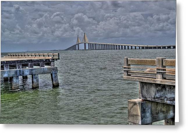 Skyway Bridge New And Old Greeting Card by Timothy Lowry