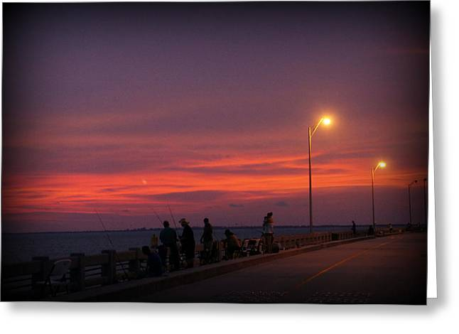 Skyway Fishing Greeting Card by Laurie Perry
