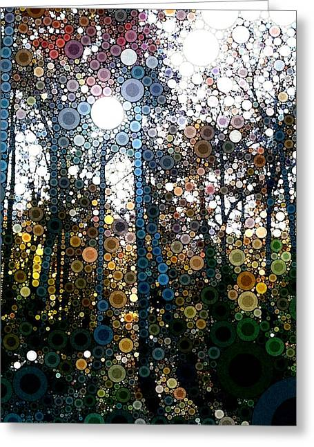 Skyway Forest At Dawn Greeting Card by Linda Bailey