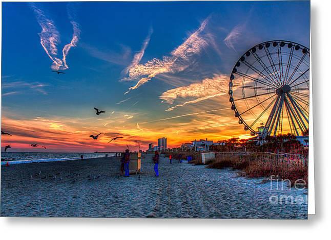 Skywheel Sunset At Myrtle Beach Greeting Card