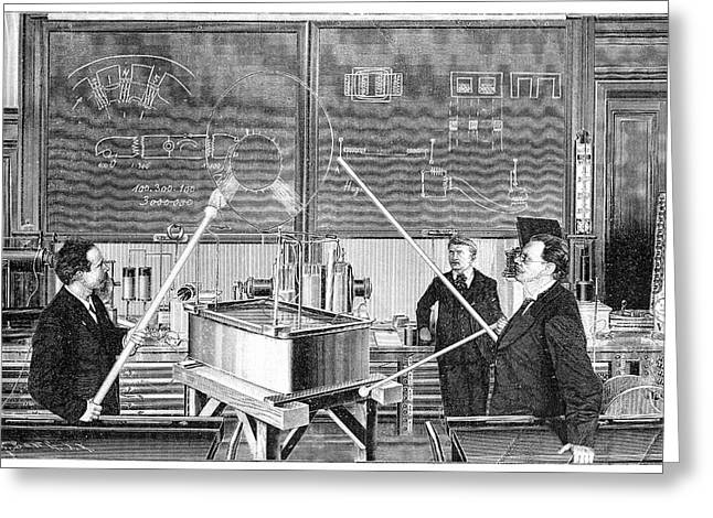 Slaby's Electrotechnical Laboratory Greeting Card by Science Photo Library
