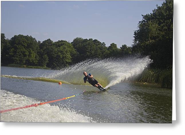 Slalom Waterskiing Greeting Card